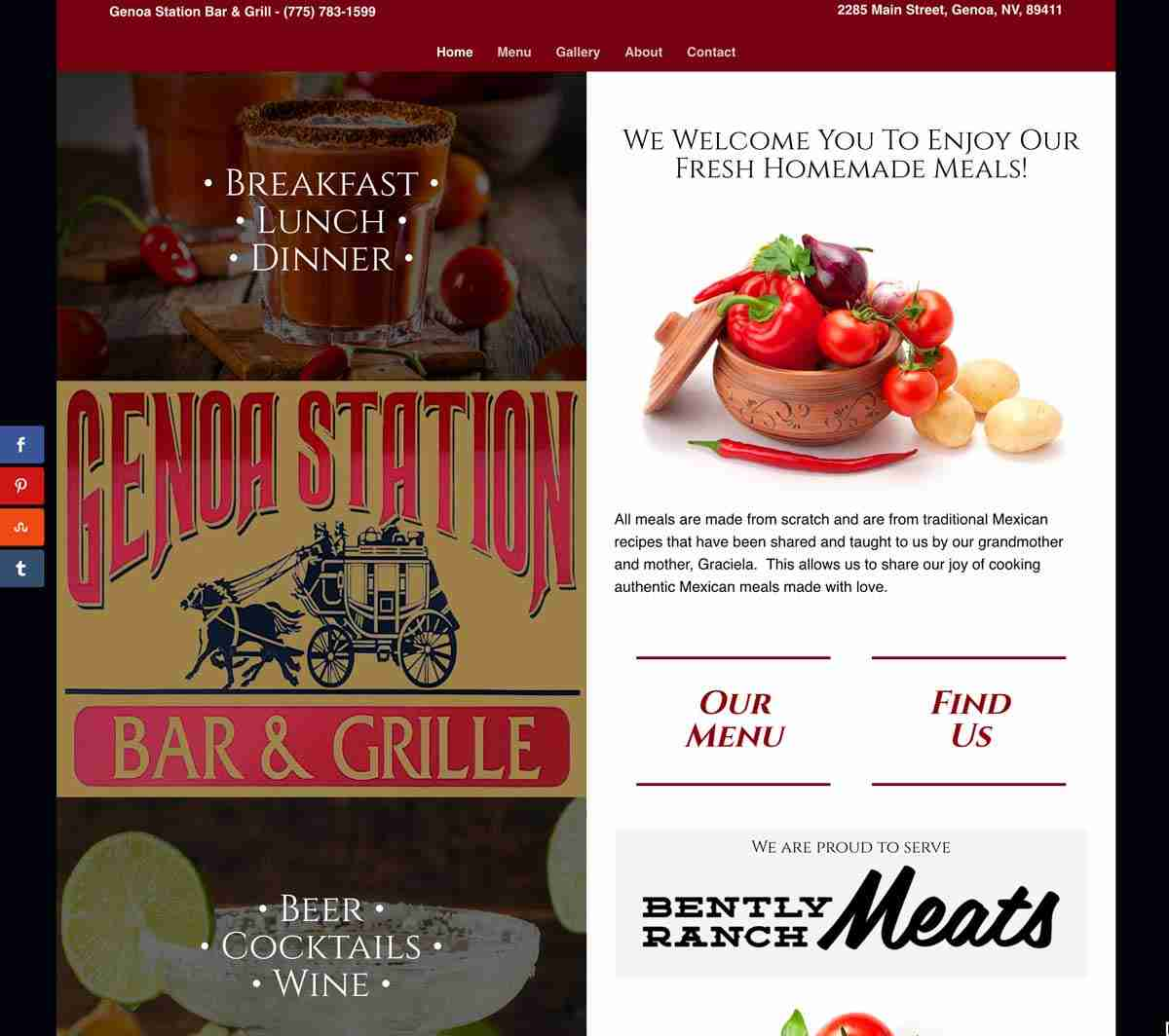 Genoa Station Bar & Grill Website by Internovations